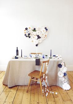 Paper flower anniversary party idea | Styling and concept by Knot and Pop | Photo by Gary Didsbury | 100 Layer Cake
