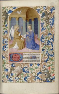 "Parchment leaves from a 15th century Book of Hours (use of Paris), encompassing: ""[f]ifteen large miniatures, usually above 3 lines of text in arched compartments, surrounded by full borders of blue and gold acanthus, flowers, green pears, strawberries, and a particularly large number of grotesques, frequently obscene.""  Annunciation"
