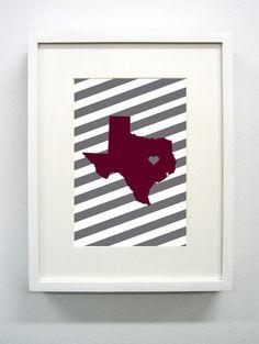 Texas A Aggies Maroon Print -  Gig 'em. $12.00, via Etsy.