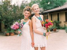 Southwestern bridesmaids look with turquoise jewelry