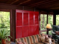 Porch Privacy Tip    Another low-cost privacy solution: Mount some shutters on a frame, add a coat of fresh paint and hang them from the ceiling of a porch.