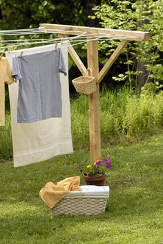 clotheslines, houses, farms, laundry baskets, garden