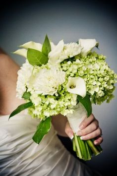 White and Green Hydrangea Bouquet love for the bridesmaids to go with the fischia bridesmaid dress. Add some purple.