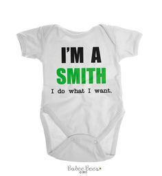 Baby Boy Clothes, Baby Girl Clothes, Funny Baby Clothes, Gender Neutral Baby, Last Name Shirt, I Do What I Want, Personalized Baby Gift  I'm a YOUR LAST NAME I do what I want. This gender neutral baby gift is a great way to make a pregnancy announcement. Our funny baby clothes can be customized to the colors of your choice and are also available in toddler shirts and baby shirts. This last name design is perfect for both a baby girl and baby boy and makes a unique personalized baby gift.