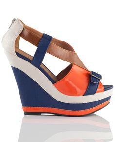 color-block wedge sandals
