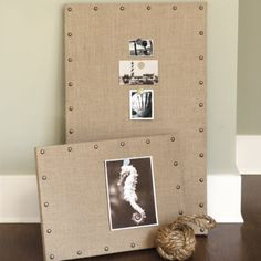 DIY burlap message board. she used a canvas, burlap, and upholstery nails. sometimes clearance canvas art at walmart/dollar stores can be cheaper than buying new canvases & you're just covering it so doesn't matter what it looks like.