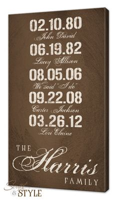 Personalized Important Dates Canvas Wall Art With Family Last Name, Birthdates & Wedding Date, Wedding Sign, Anniversary Sign, 16x26 Person Special, Dates, Canvas Wall Art, Families, Canva Wall, Wedding Signs, Anniversari Sign, Name Art, Canvases