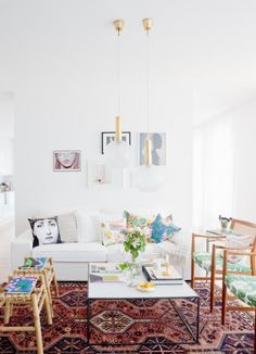 Eclectic vibe.  Neutral furniture + funky rug.