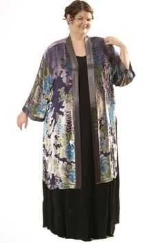 Shopping for an Easter Wedding?  Was $600, now only $400!  Plus Size Mother of Bride Dress Kimono Jacket Turquoise Silver Pink Green Grey Silk Velvet Burnout Sizes 22/24, 26/28 30/32: This gorgeous silk velvet burnout Kimono will take your breath away. A most unusual floral print emerges from the silver base, moving vertically up