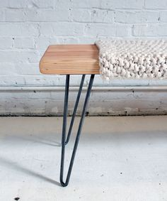 #DIY Knitted Wool + Wood Bench