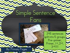 Simple Sentence Fans from Ms Ginas Class on TeachersNotebook.com -  (54 pages)  - Simple sentences to help with fluency!