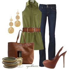 """""""Olive and Cinnamon"""" by cynthia335 on Polyvore"""