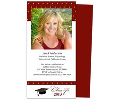 Printable DIY Grad Announcements : Wisdom Graduation Announcement Template, available in variety of colors. Customizable to your own specific wording with Word, Publisher, Apple iWork Pages.