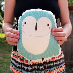 Handmade Owl Pillow Owl Toy Stuffed Animal Baby Toy by Gingiber