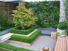 Repetition of horizontal lines & shapes increases the sense of space. The small tree is a single, bold focal point