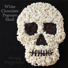 Halloween Dessert - White Chocolate Popcorn Skull