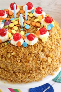 One of Betty's Official Birthday Cakes of the Month: a sweet fried ice cream cake!
