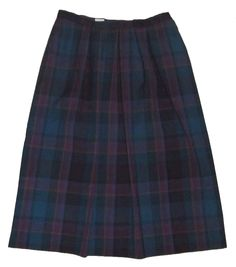 Plaid Skirt 16 Wool Long Pendleton Tartan Blue Purple Vintage Pleated Classic #teamsellit #womensfashion