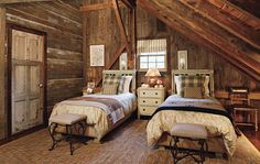 Hermes blankets in rustic bedroom.