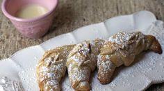 Raspberry-Almond Crescents with White Chocolate Sauce Recipe