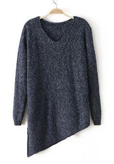 Navy Blue Plain Irregular V-Neck Cotton Blend Sweater