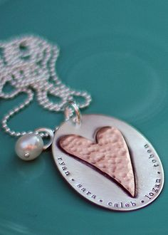 bold love custom handstamped necklace from the vintage pearl