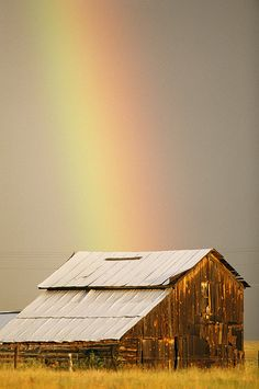 Rustic Barn...with beautiful rainbow overhead.
