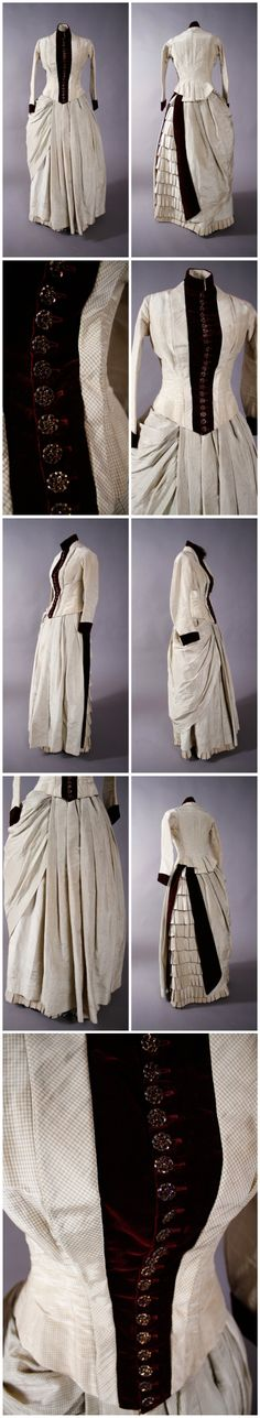 Bustle dress, c.1883-1884. Material: Weight Silk, Silk Velvet. Etsy; FabGabs
