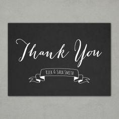 Chalkboard Thank You Postcard with Name | PRINTABLE