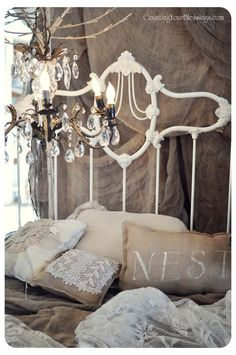 Counting Your Blessings chic decor, romantic bedrooms, bed frames, guest bedrooms, shabbi chic, shabby chic, burlap pillows, iron bed, vintage bedrooms