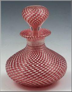 Clichy French Art Glass Rib Molded Mezza Filigrana Perfume Bottle