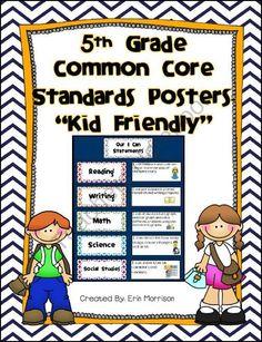 5th Grade Common Core Standards Posters-