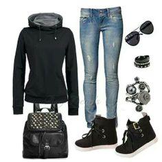 Skinny blue jeans... Black hoodie