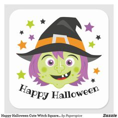 Happy Halloween Cute Witch Square Sticker