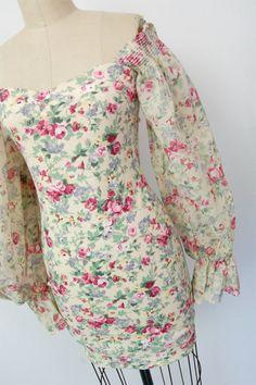 Vintage 80's floral off shoulder dress / boho by hausofmirth
