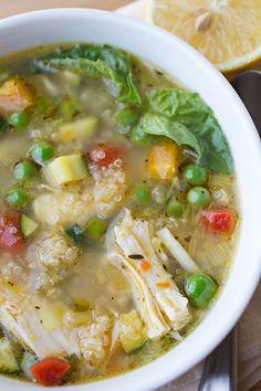 Simple Lemony Chicken & Spring Veggie Soup with Quinoa & Fresh Basil
