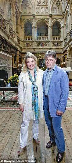 With so many people clattering around the house, Lady Carnarvon, 49, hasn't spotted any of its famous ghosts in a while- pictured with husband George