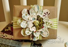 gift wrap, fabric flowers, fabric craft, kraft paper, brown bags