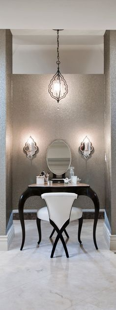 Beautiful vanity! luxury bathrooms, mirror mirror, makeup vanities, woman on chair art, beauti vaniti, light