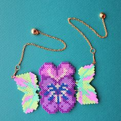 Pansy Flower Necklace made with Hama beads by GiveMeColours