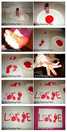 'Love' Sign: Kids Handprint and Footprints~ I'm going to do this, but instead I will put it on a canvas with different colors, use stencils for the 'L' and 'E' and then hang as wall art for our home! <3 Wall Art, Footprints, Fruit, Cloth Diapers, Valentine Day, Colors, Cards, Canvases, Kid