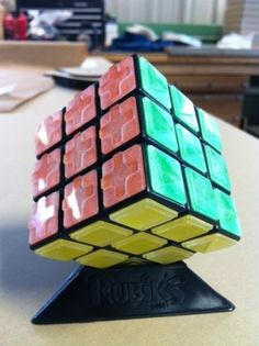 A Rubik's Cube for the blind. Puzzle-solvers complete the puzzle by feeling the raised edges.