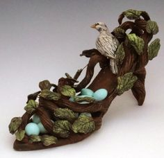 shoes, sculptures, shoe sculptur, clay shoe, shoe art, bird nests, polym clay, polymer clay, birds