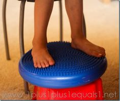 Disc for fidgety feet. Would be concerned about lack of postural stability for desk work