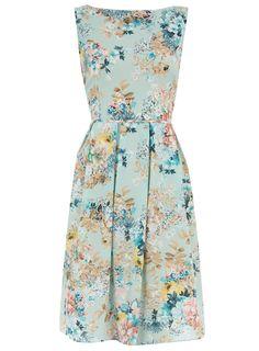 blue floral party dress