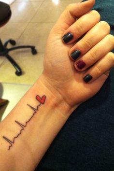 Heartbeat tattoo. Heart tattoo. Color tattoo. Wrist tattoo. Arm tattoo. #nurses #nursing #tattoo #nurseink