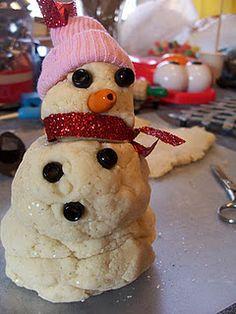 Make a glittery snowman... out of playdough