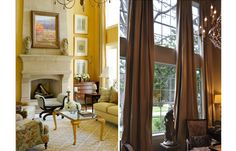 Drapes on pinterest bay windows tv units and moldings for 2 story family room window treatments