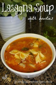 Lasagna Soup with Bowties - Ricotta and fresh mozzarella in the bottom of the bowl, then hot soup is ladled over top. The cheese gets all melty and delicious!