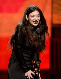"Lorde accepts the Best Pop Solo Performance GRAMMY for ""Royals"" on the 56th Annual GRAMMY Awards on Jan. 26 in Los Angeles"